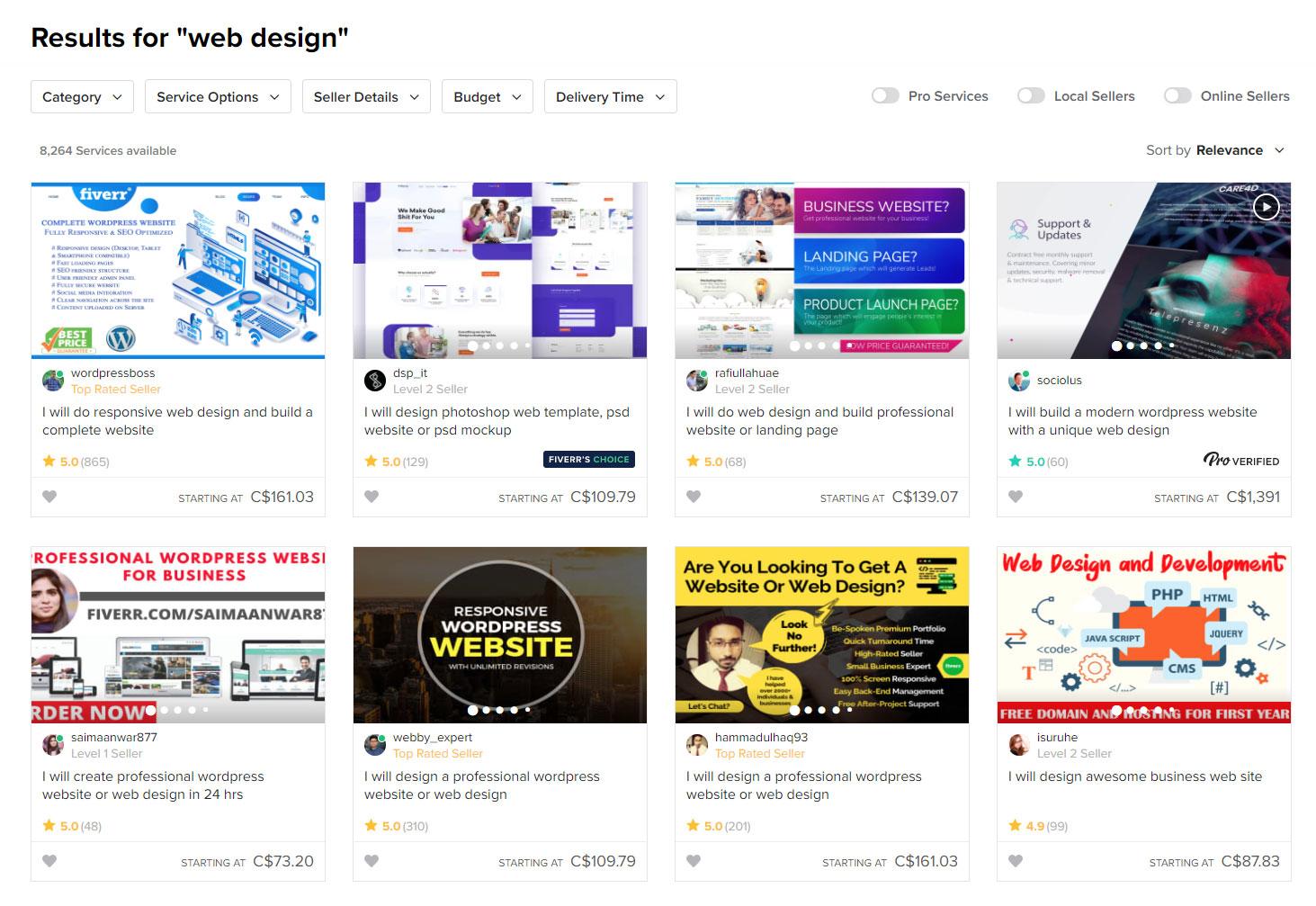 fiverr search web-design